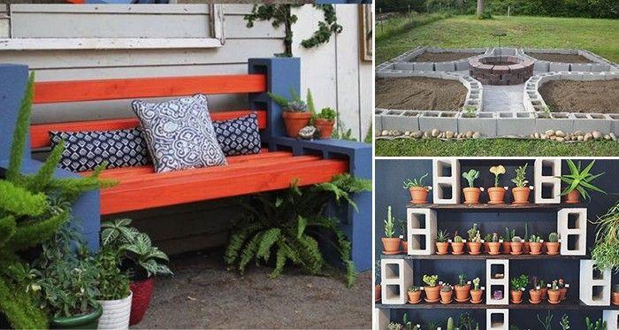 24 coole Ideen um Betonsteine im Garten oder Haushalt zu verwenden - lounge gartenmobel gunstig