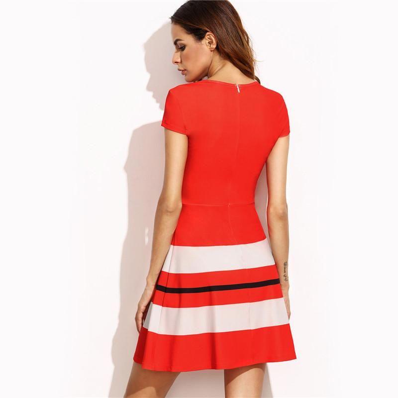 Red Striped Print Cap Sleeve A-Line Mini Dress
