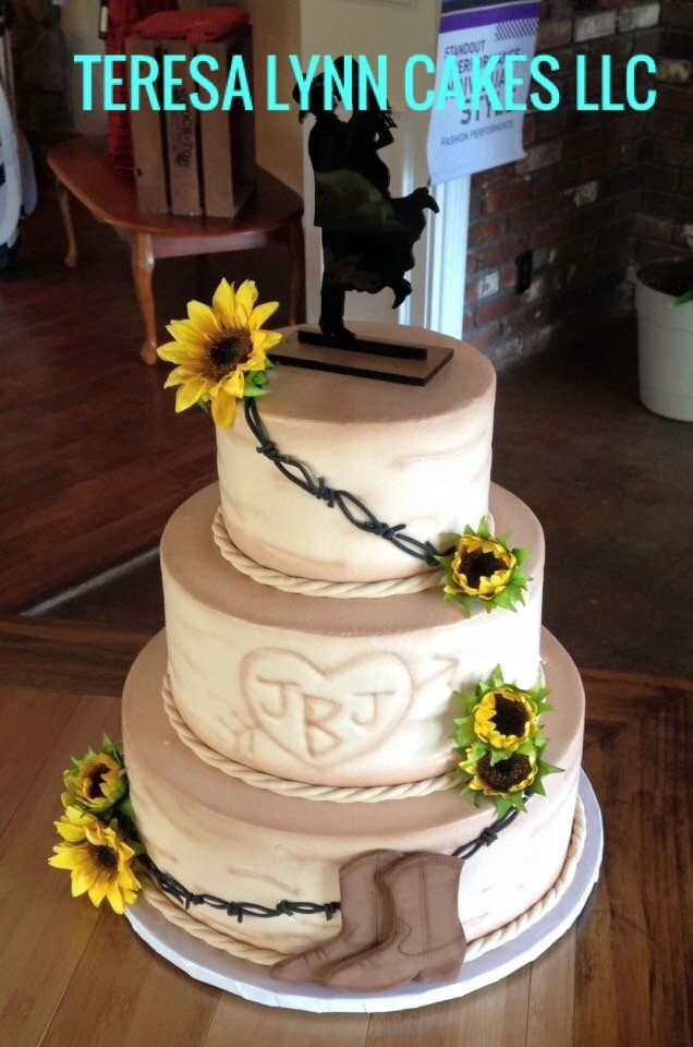Western Style Wedding Cake With Barbed Wire And Sunflowers Western Wedding Cakes Sunflower Wedding Cake Country Wedding Cakes