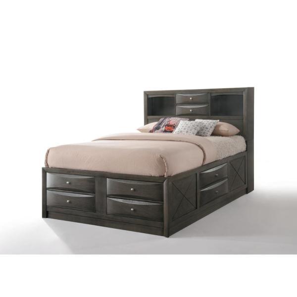 Acme Furniture Ireland Gray Oak Storage Queen Bed in 2020