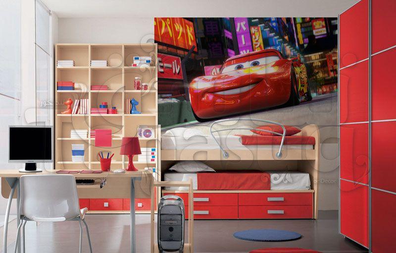 برق بنزين ورق حائط أطفال ثري دي سيارات غرفة نوم أطفال كرتون حجم كبير
