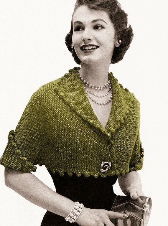 4f6758de33d87 Vintage Knitting Pattern 1950s Pom Pom Cropped Bolero Digital ...