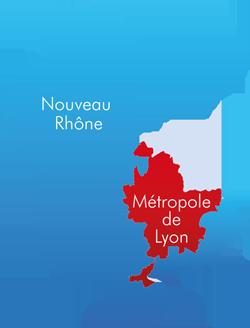 Nouvelle carte du département du Rhône et de sa métropole