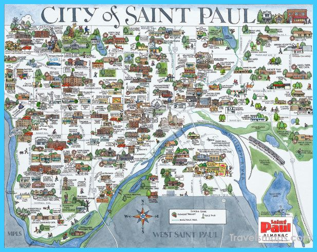 awesome Map of Minneapolis/St. Paul | Travelsmaps | Minneapolis ...