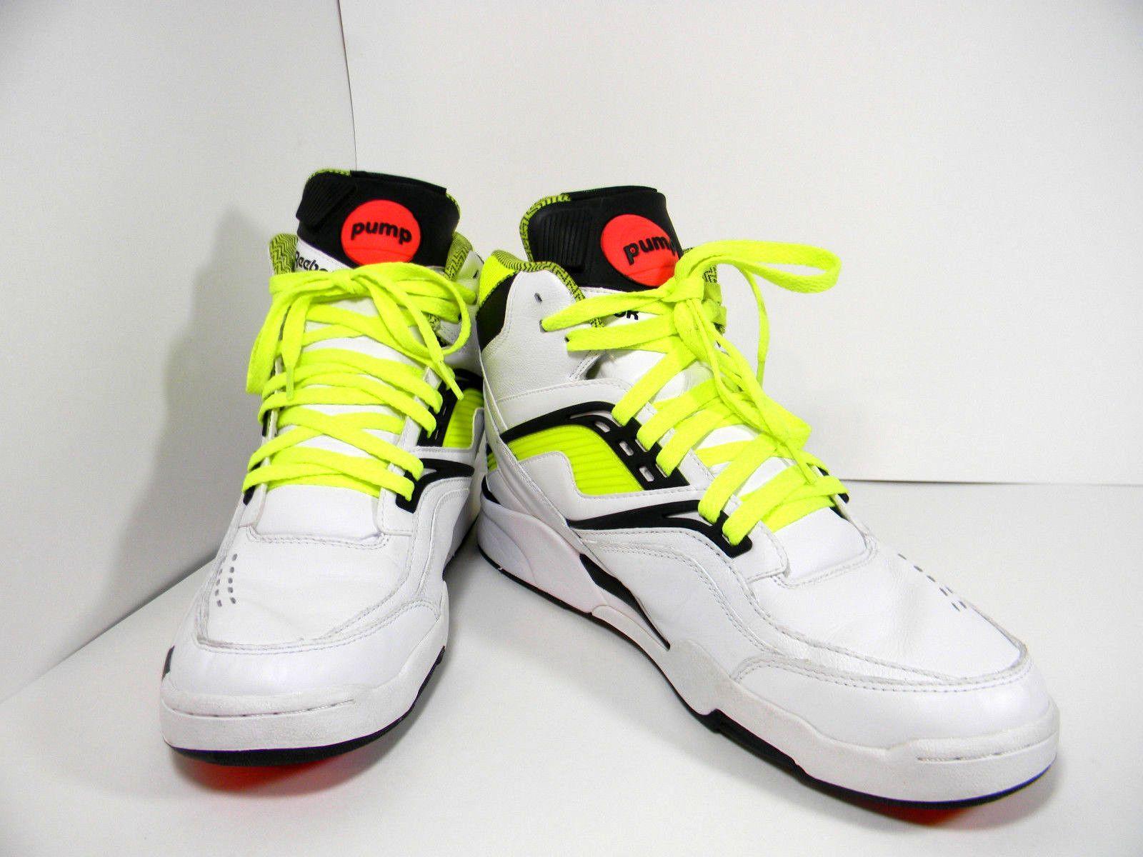2013 Twilight Zone Reebok The Pump White Neon Yellow Black Shoes Size 11.5 3dd848f6b