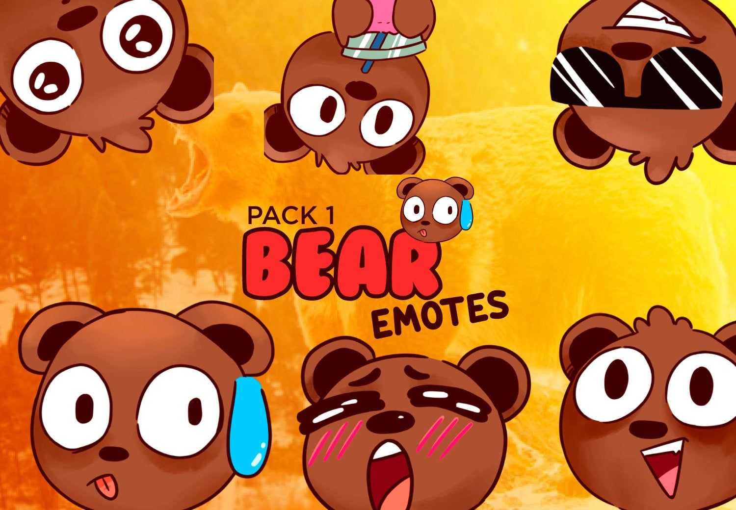 6 Cute Bears Emotes For Twitch Discord And Youtube Pack 1 In 2020 Cute Bears Bear Cute