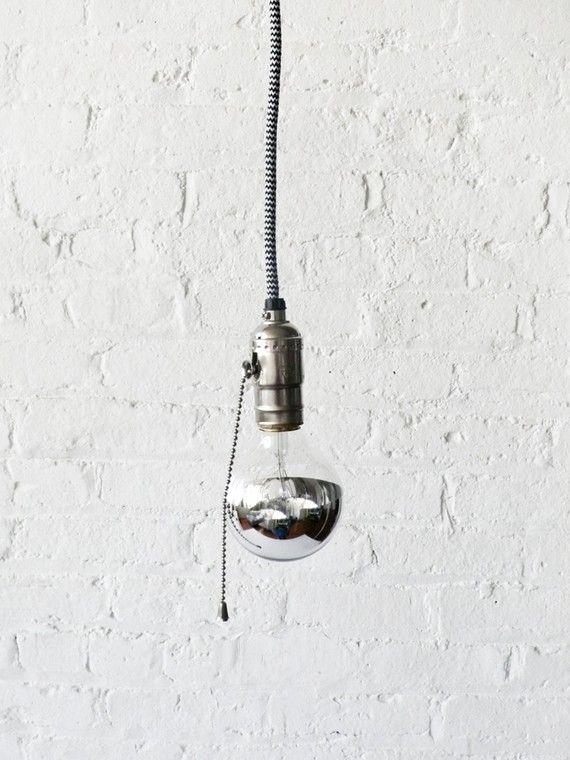 Black and White Pendant Light Cord w/ Large Silver Globe