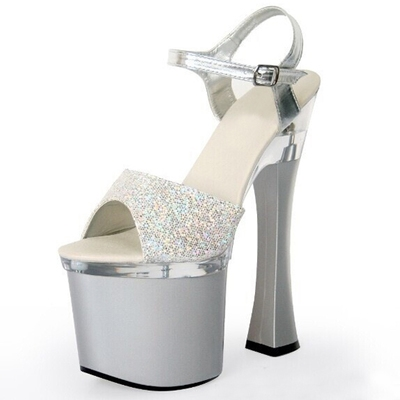 72.90$  Buy now - http://ali0d9.shopchina.info/go.php?t=32791294409 - Hot-Selling 2017 Star Style Comfortable Thick Heel Sandals 18cm Super High Heel Wedding Shoes Sexy Silver Paillette Sandals  72.90$ #bestbuy
