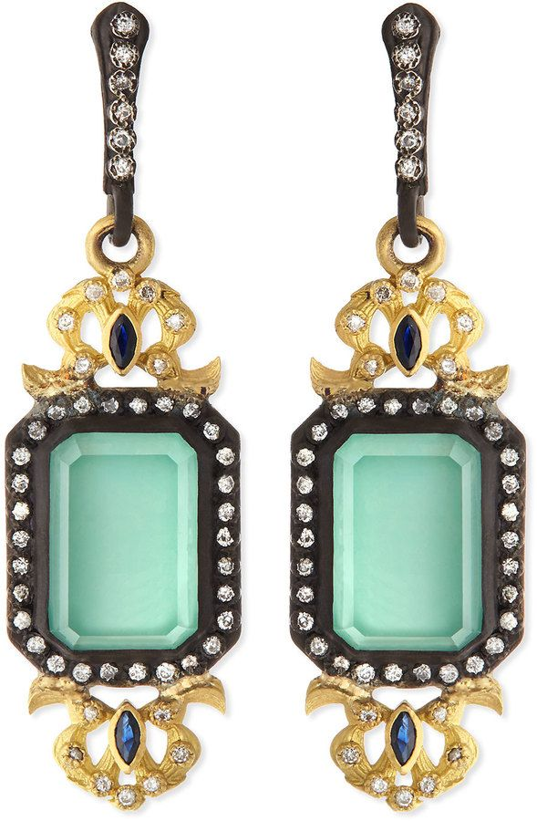 Armenta Old World Emerald-Cut Drop Earrings, Green
