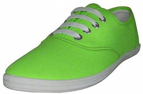 Easy USA  Womens Canvas Lace Up Shoe with Padded Insole Neon Green Size 7 ** Learn more by visiting the image link.(This is an Amazon affiliate link and I receive a commission for the sales)