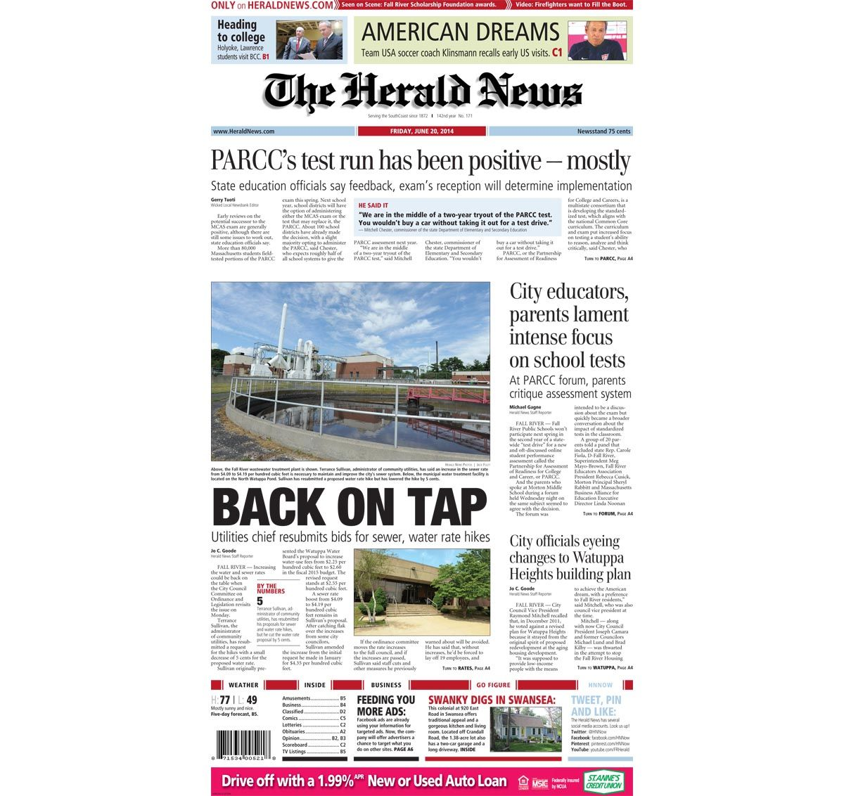 The front page of The Herald News for Friday, June 9, 914
