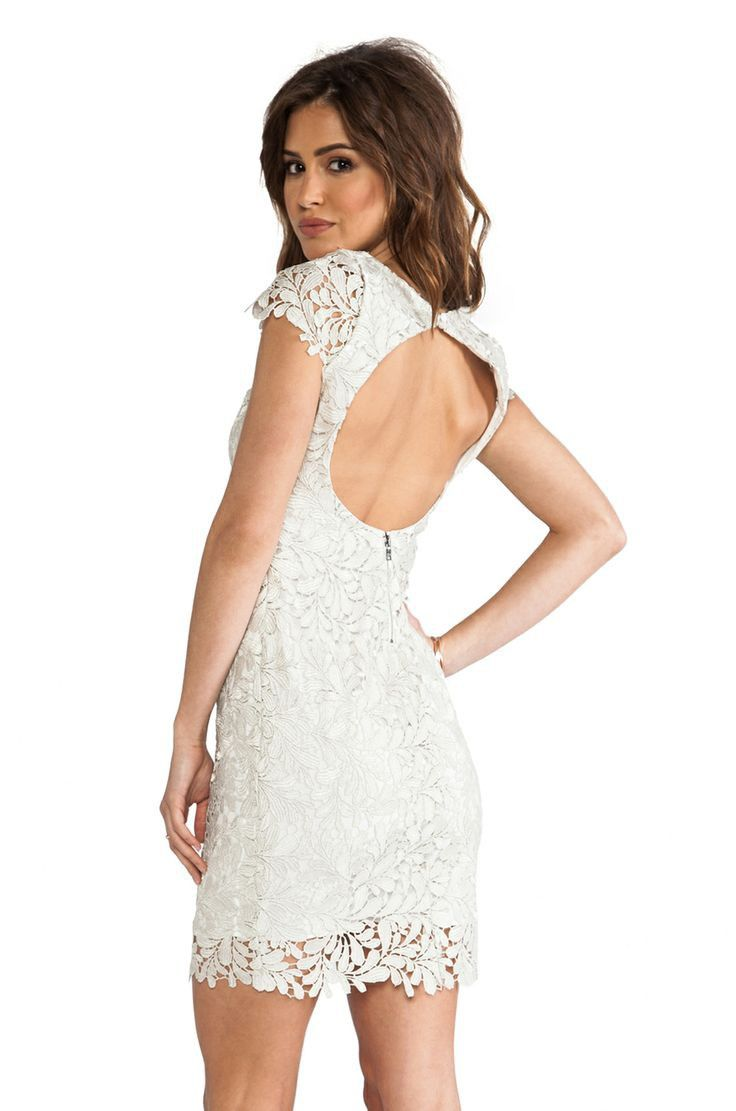 Perfect for a wedding party, shower or dinner. Alice & Olivia lace overlay dress.