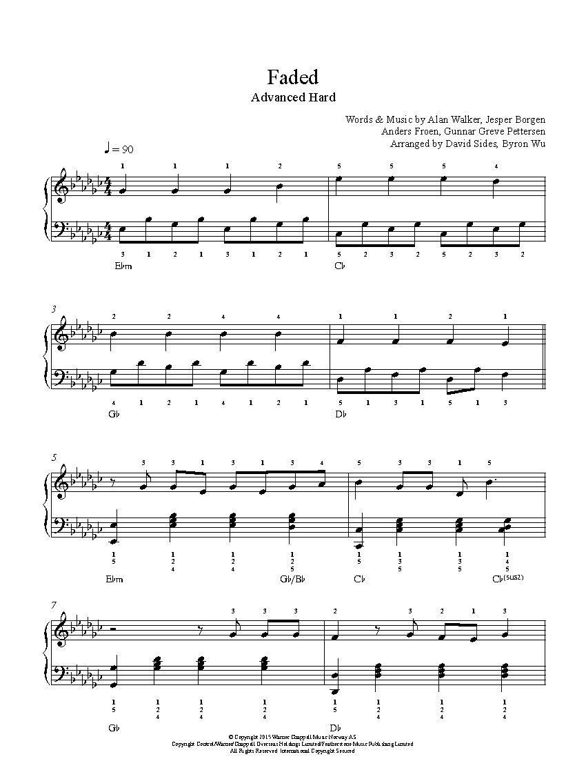 Faded By Alan Walker Piano Sheet Music Advanced Level Sheet Music Piano Sheet Music Piano