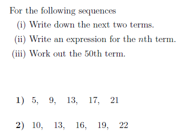 The nth term of a sequence worksheet (with solutions): A ...