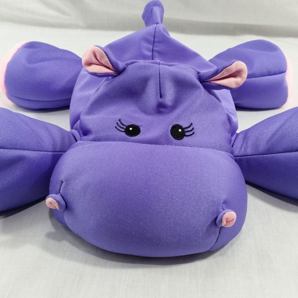 Details About Hippopotamus Plush Microbead Purple Pink Hippo Stuffed
