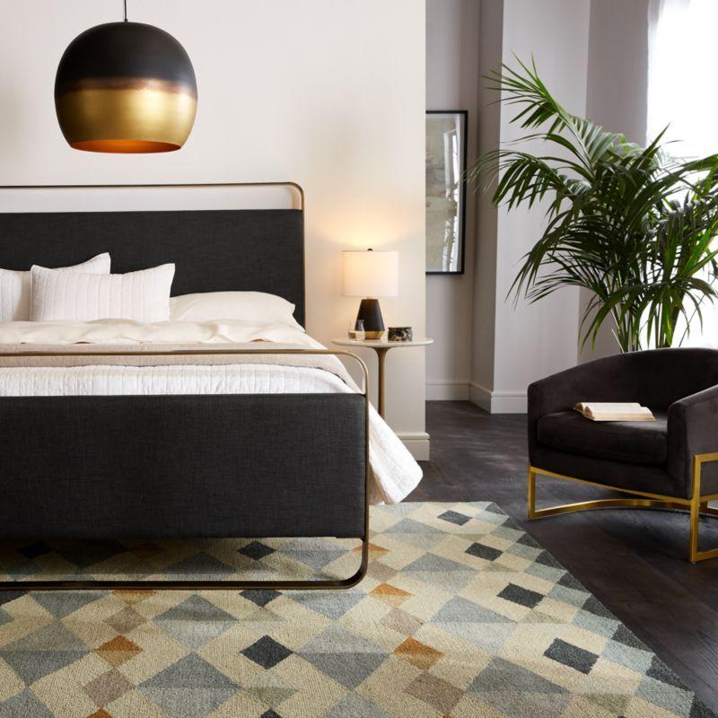 Gwen King Metal And Upholstered Bed Reviews Crate And Barrel Platform Bed Designs King Sheet Sets Warm White