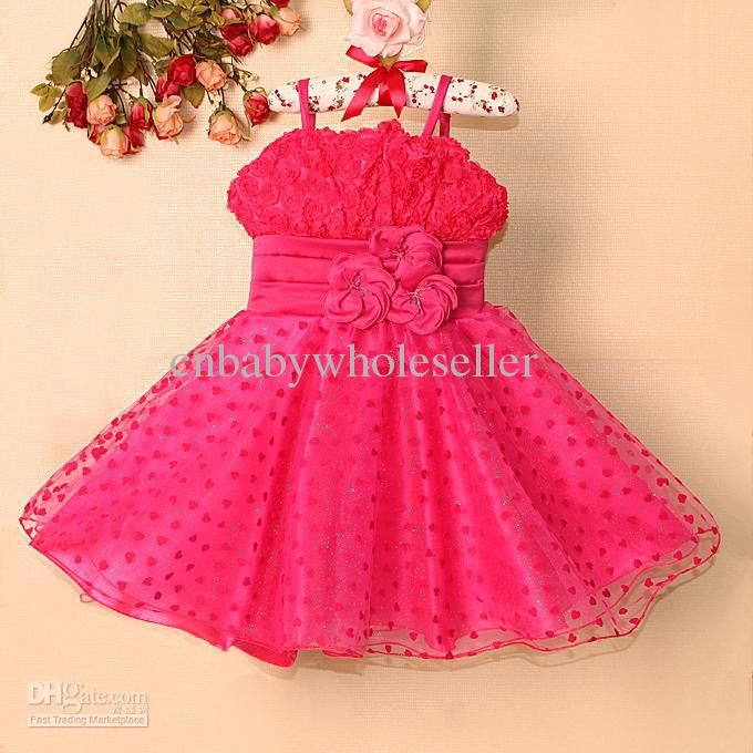2015 Baby Girls Party Dress Hot Pink Flower With Pearl Girls ...