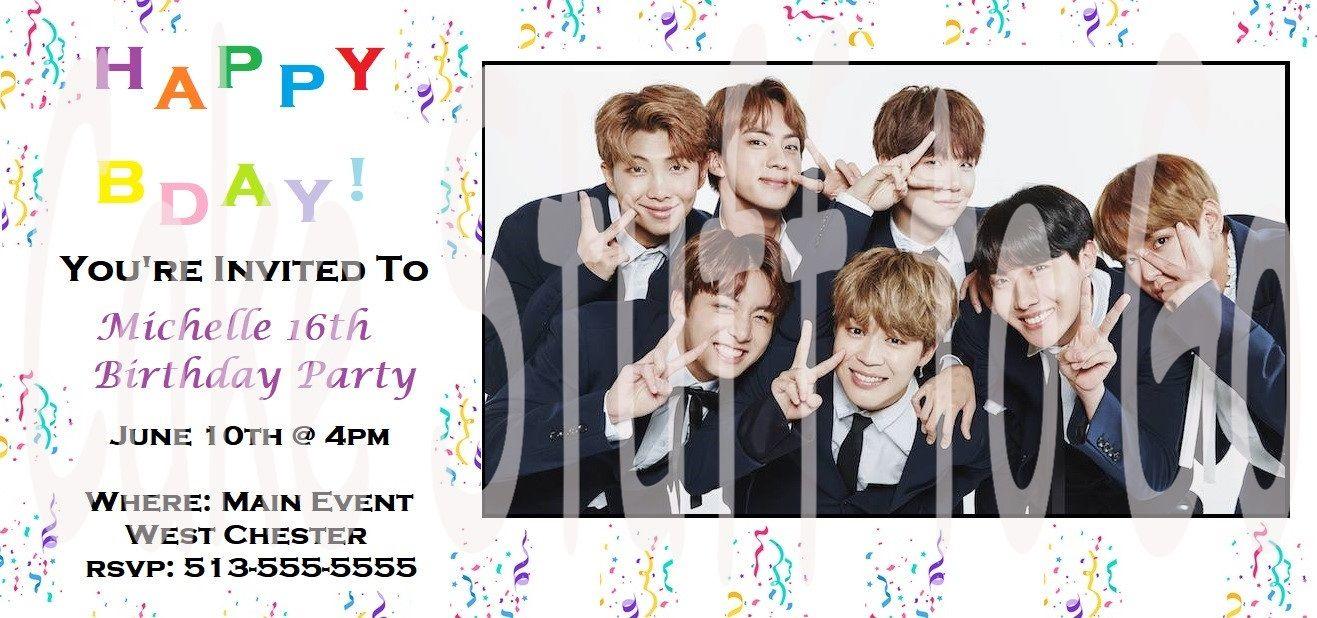 bts bangtan boys birthday invitations