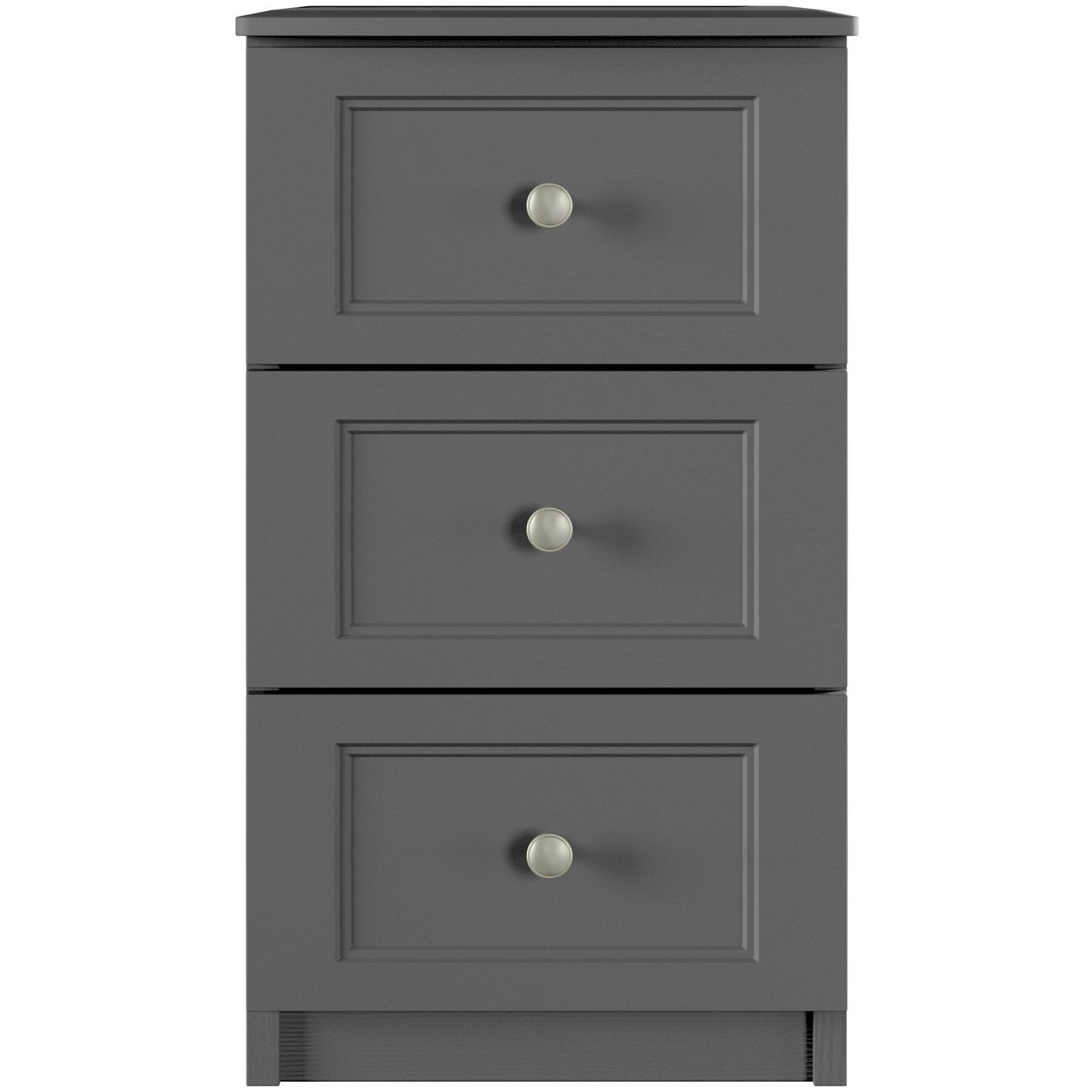 One Call Bexley 3 Drawer Bedside Table Dark Grey In 2020 3 Drawer Bedside Table Furniture Making Drawers