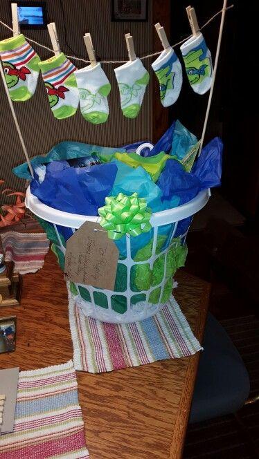 Baby Boy Shower Laundry Gift Basket Ninja Turtle