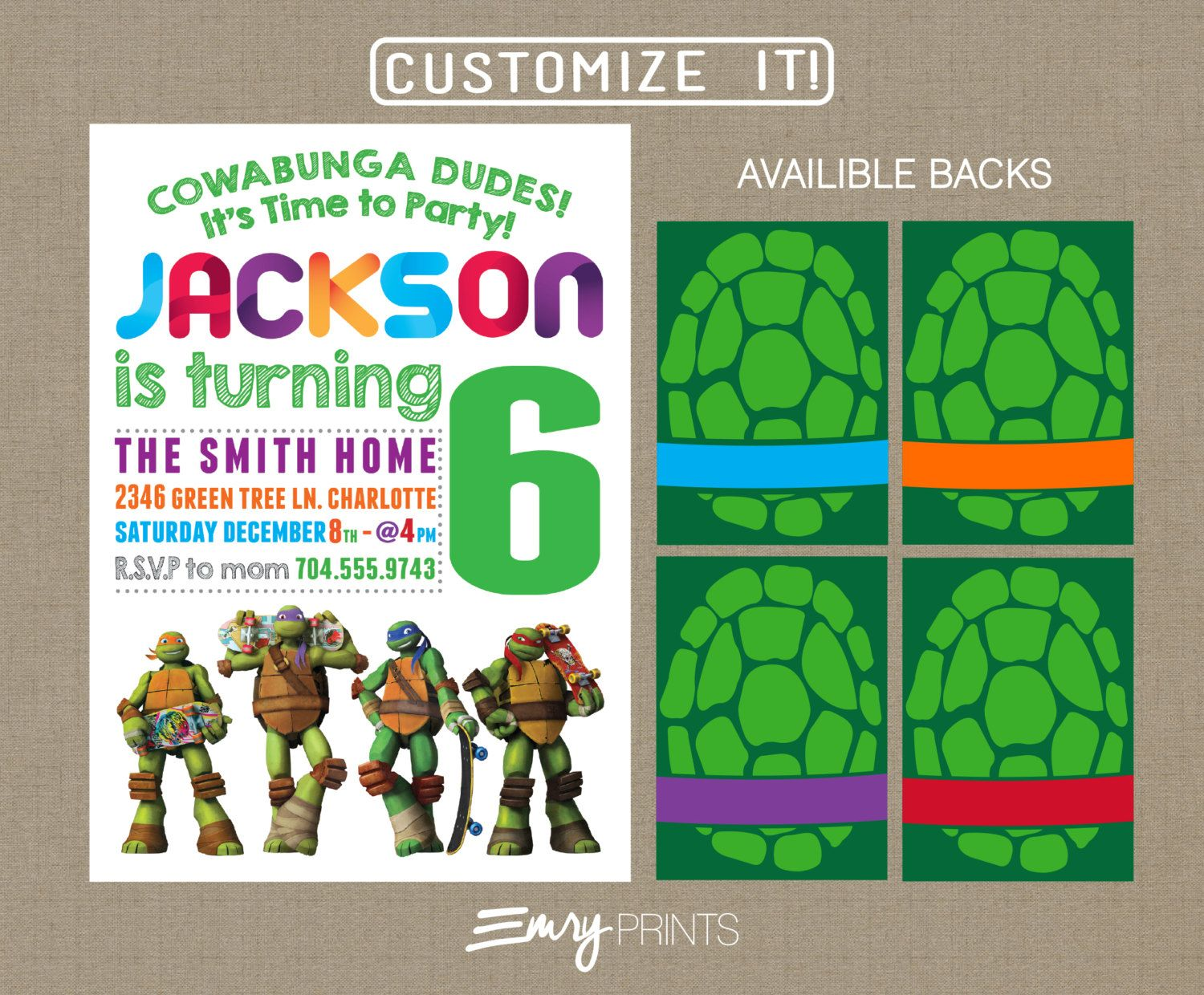 Teenage Mutant Ninja Turtles Birthday Invitation Digital Printable Custom Turtle Party Personalized TMNT By EmryPRINTS On Etsy