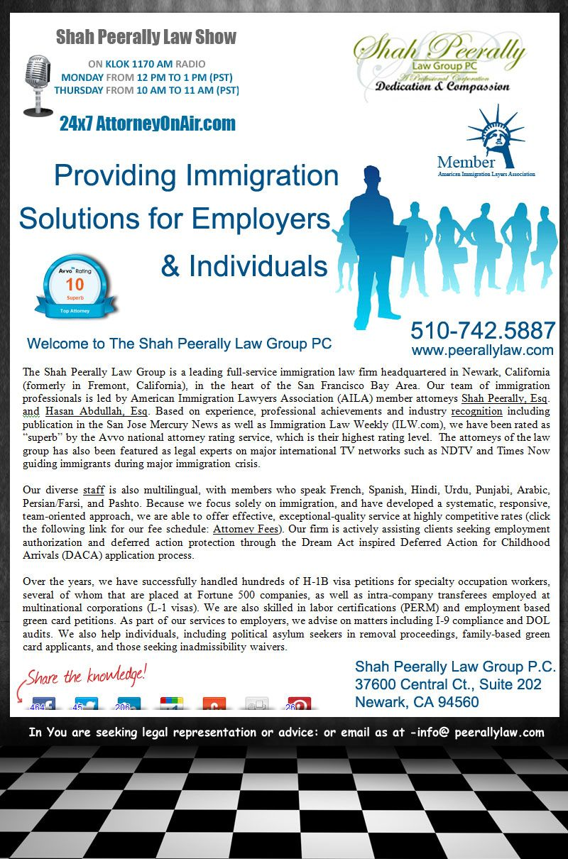 Best Immigration Lawyer Usa The Shah Peerally Law Group Is A