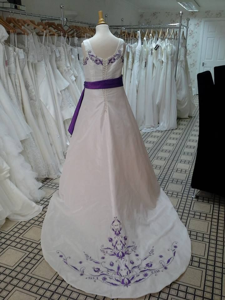 Ivory Wedding Dress With Purple Detail Eden Http Www Priddi