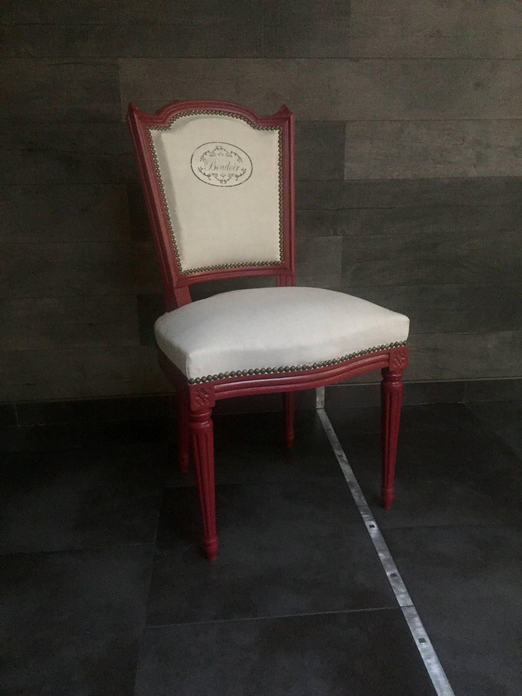 chaise m daillon ancienne relook e lin cru rouge lie de vin transfert vintage boudoir fait main. Black Bedroom Furniture Sets. Home Design Ideas