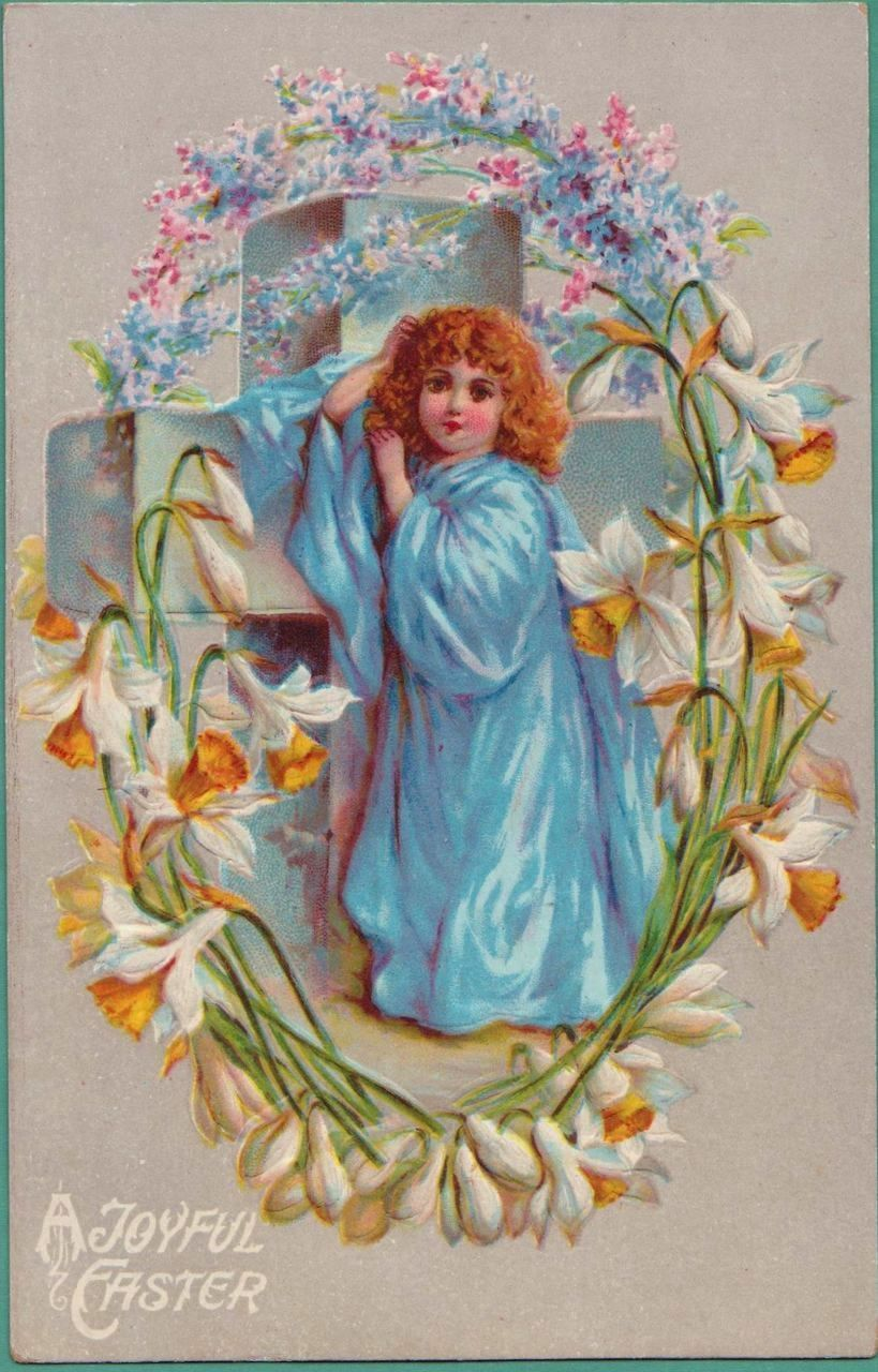 Antique Easter Greetings Cross Angel German Postcard Spring
