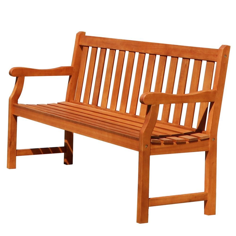 Malibu 5 Ft Slatted Back Wooden Patio Garden Bench Garden In