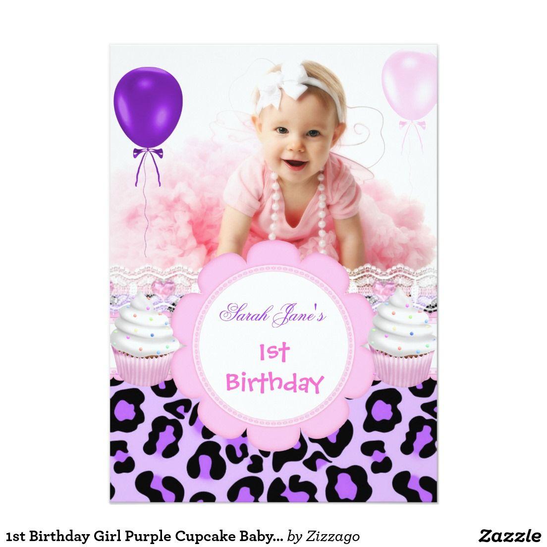 1st birthday girl purple cupcake baby leopard 5 x 7 invitation 1st birthday girl purple cupcake baby leopard 5 x 7 invitation card filmwisefo Image collections