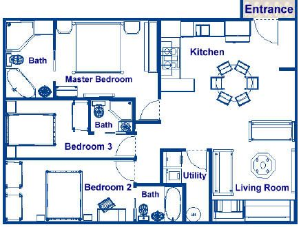 900 Sq Ft 3br 3ba Floor Plan Bedroom House Plans House Plans Floor Plans