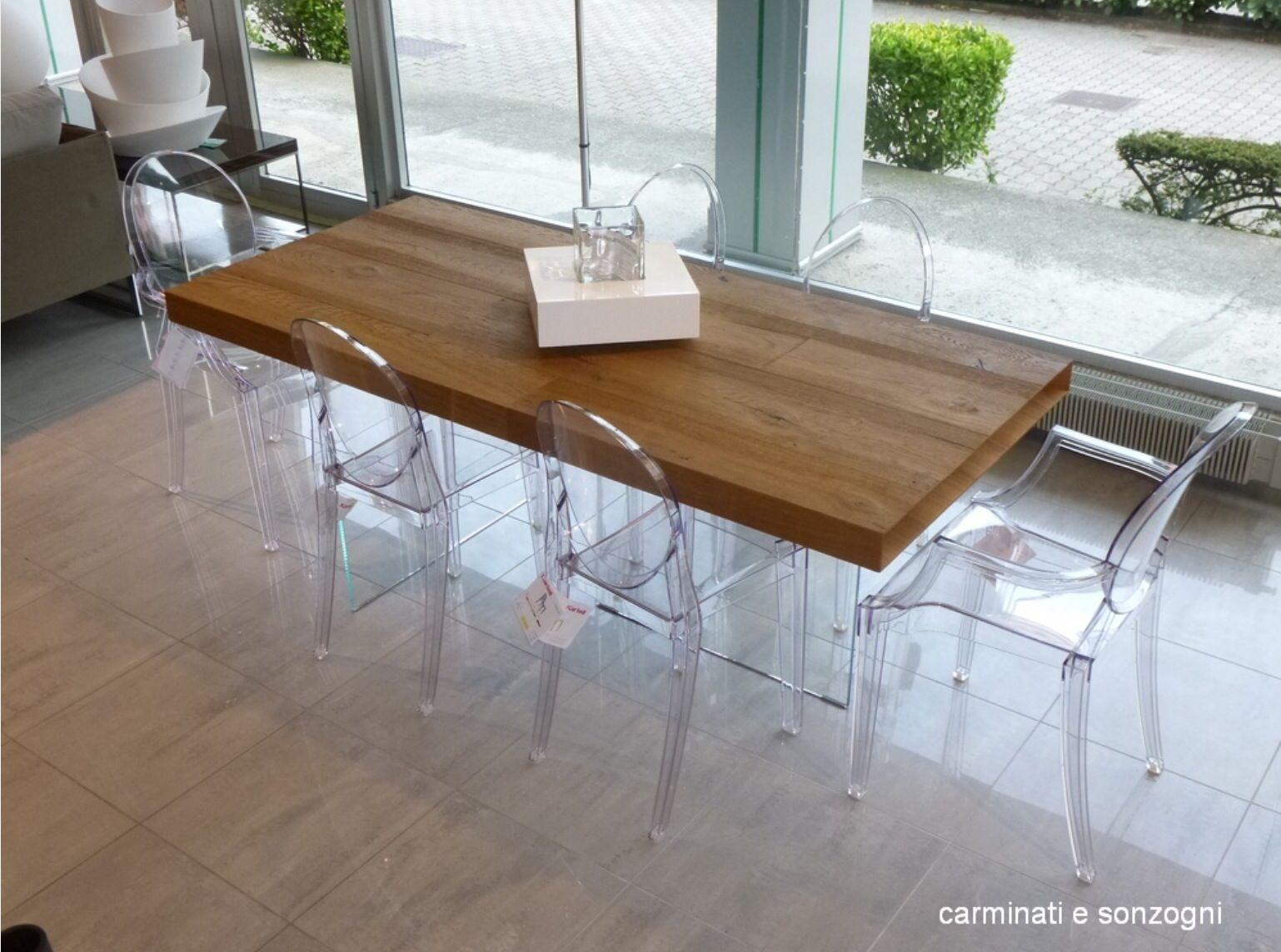 Tavolo in legno con base cristallo   Eettafel