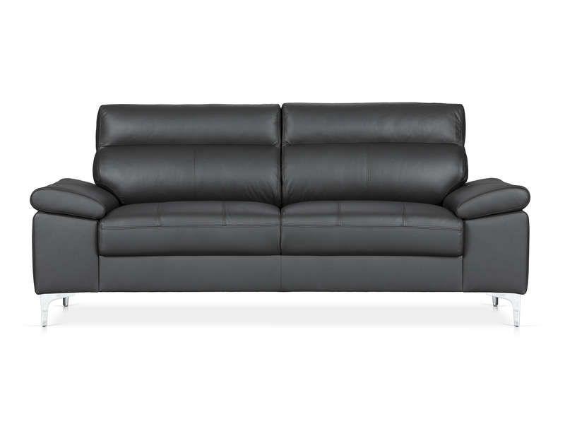 Canapé fixe 3 places DAVI coloris noir - Conforama Conforama - Conforama Tables De Cuisine
