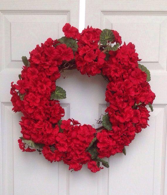 Red geranium wreath,door wreath, silk flower wreath,geranium wreath,gift, decoration