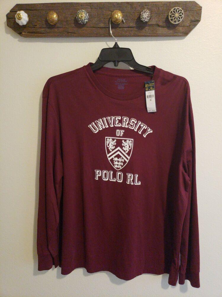 3d20ad99 Ralph Lauren Maroon University Crew Neck Classic Long Sleeve Tee T-Shirt  NWT #fashion