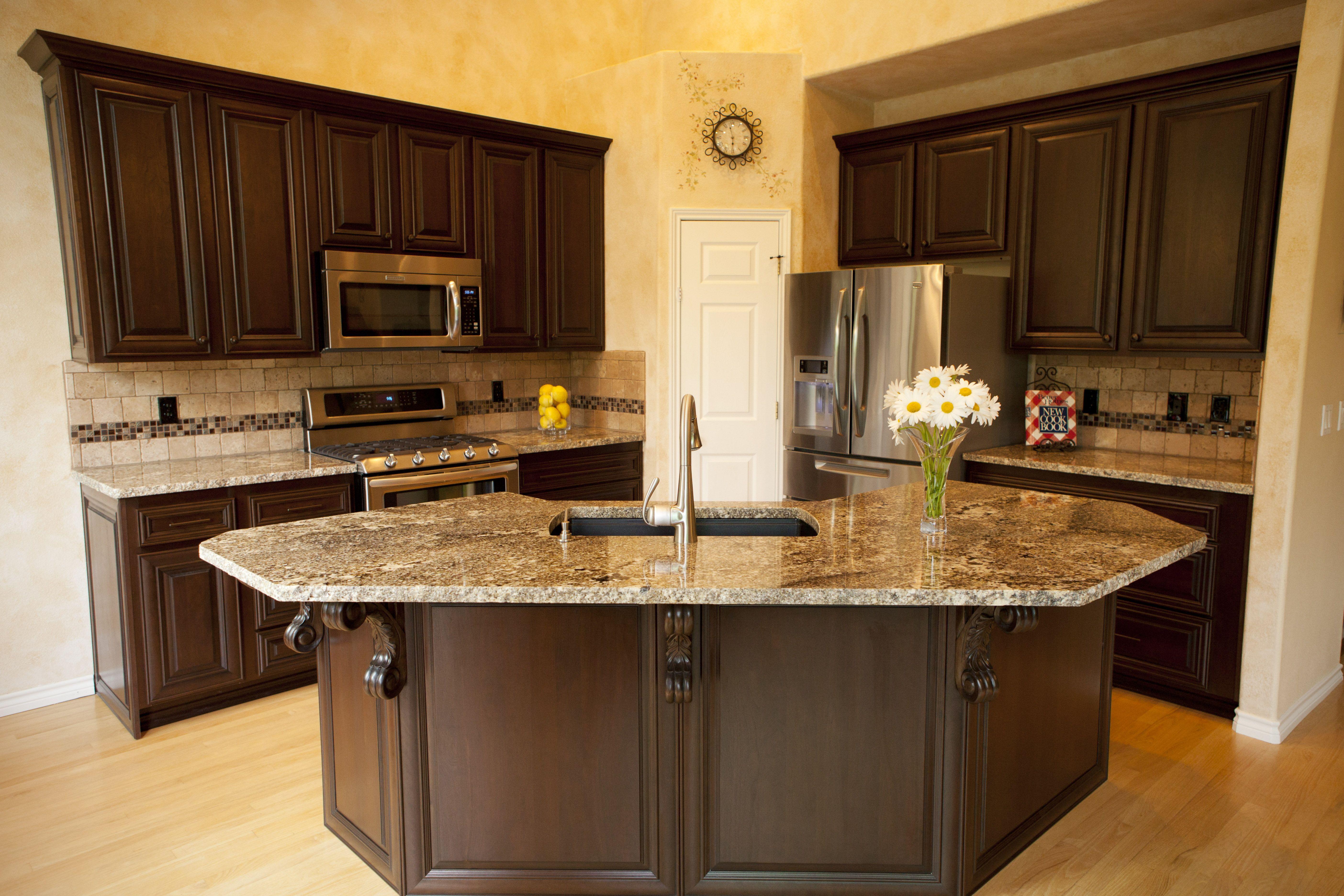 Interior. Fascinating Kitchen Design With Dark Brown Pine ...