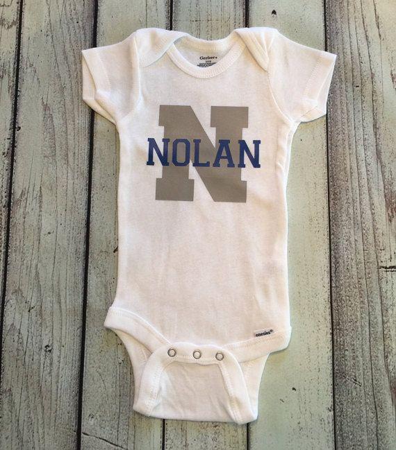 Baby shower gift custom personalized monogram baby onesie for baby boy onesie name monogram initial bodysuit for boys boys onesie negle Images