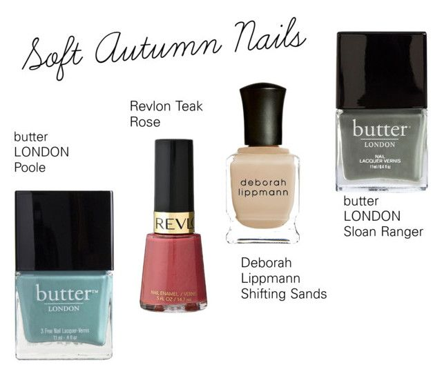 """Soft Autumn Nails"" by catelinden ❤ liked on Polyvore featuring beauty, Butter London, Revlon and Deborah Lippmann"