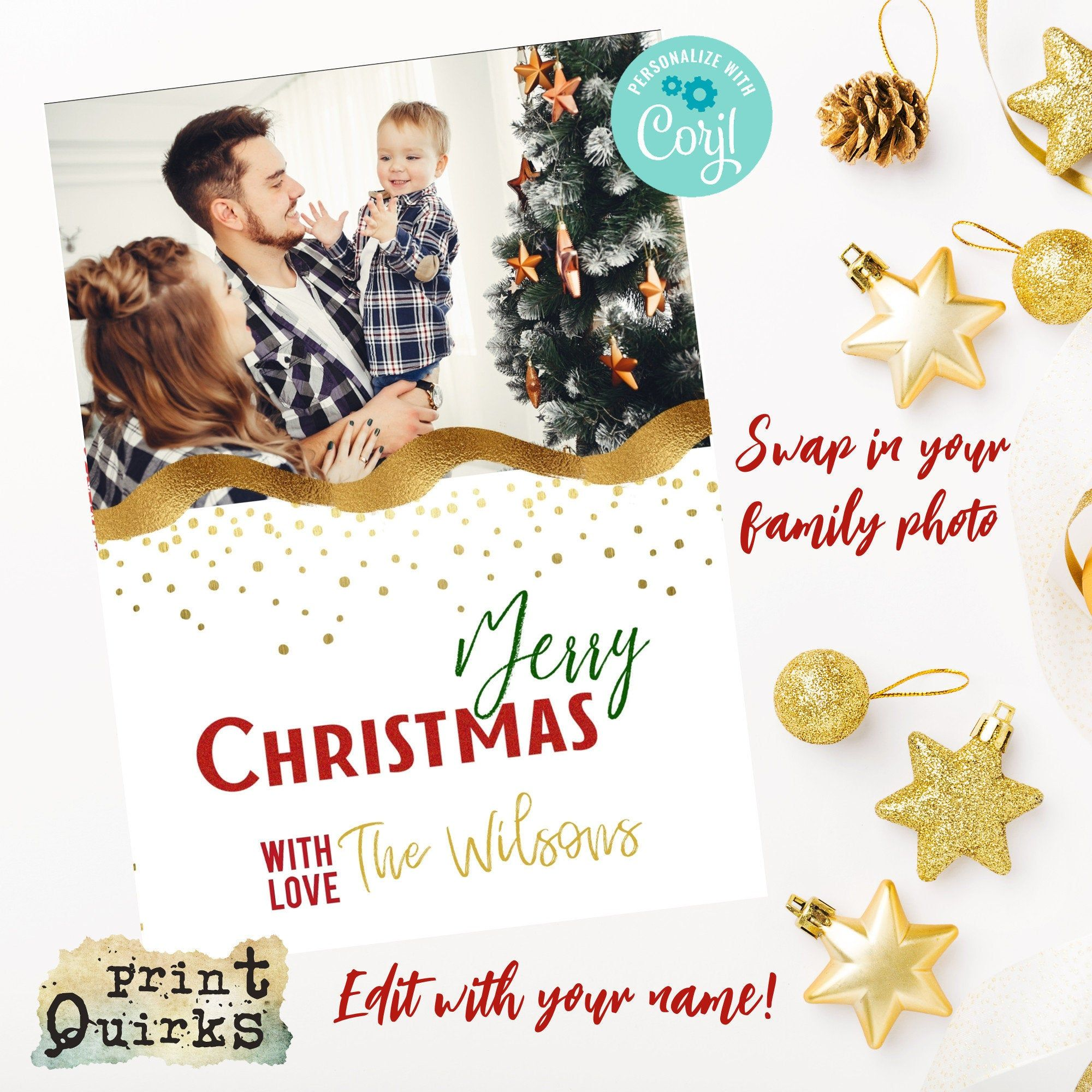 Personalised Christmas Card 5 X 7 Vertical Fold Card Snowflake Card Editable Car Personalised Christmas Cards Family Christmas Cards Merry Christmas Card