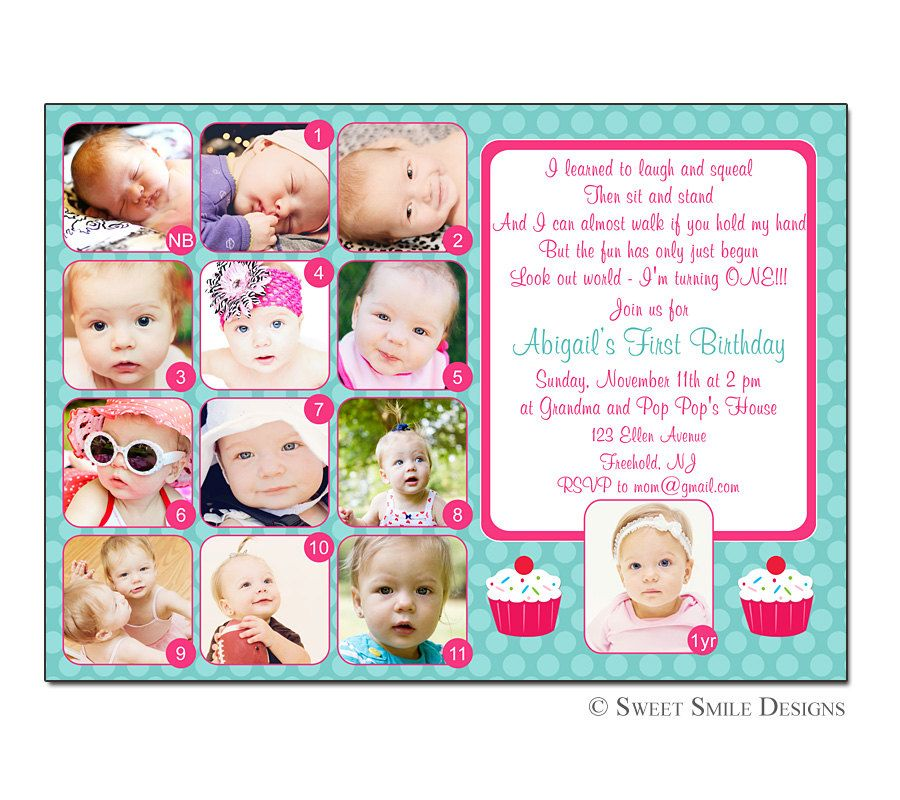Photo 1st Birthday Invitation First Turquoise Hot Pink - 12 months ...