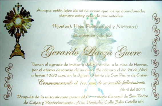 Tarjeta De Invitación A Misa De Honras Imagui