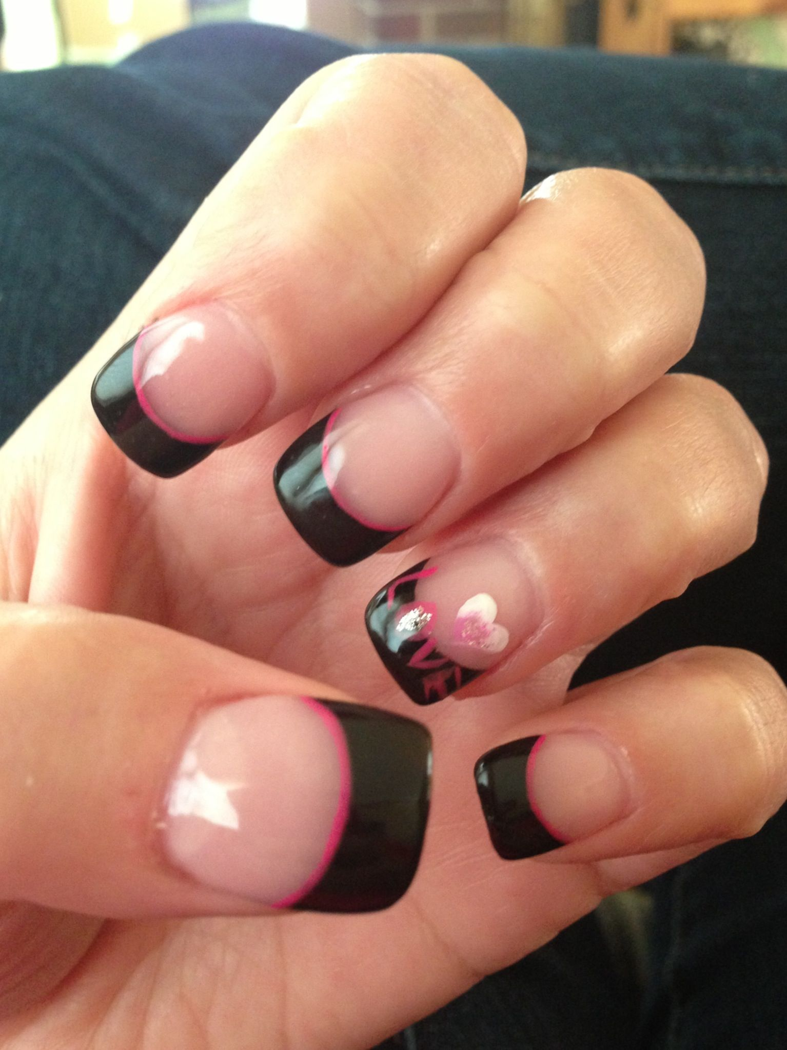Black Tip French Manicure With Hot Pink Stripe Love With Images