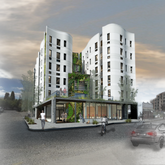 The Woods Apartments In Portland Oregon Features A 5 Story Waterfall And Solar Power Portland Apartment Green Roof Sustainable Community