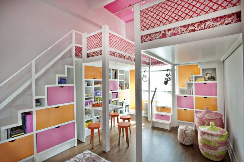 Awesome Orange And Pink Rooms | Amazing Pink And Orange Loft Bedroom For Two Girls  | Kidsomania