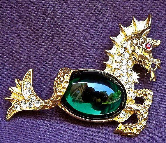 Kenneth Jay Lane Dragon Pin Hematite qHblvvk