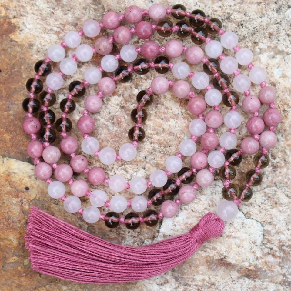 • p i n k •  According to colorology, pink has a calming effect on our emotional energies. It is romantic, feminine, loving, caring and extremely considerate. The color pink gets the lust for action and passion from the color red, and the color white gives it an opportunity to achieve success and insight.  The custom mala was made with Rhodonite (pink) and Rose Quartz (pink) with a touch of smokey quartz.  Are you a fan of the color pink?  #malarae #mymalarae #pink