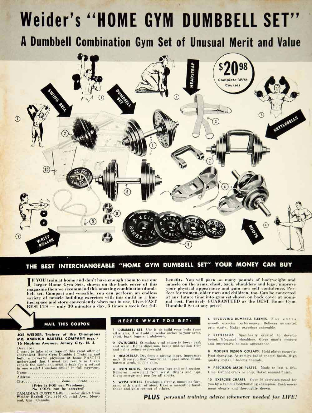 Classic Weider Ad From 60s Gym Dumbbells Joe Weider Muscle Building Workouts