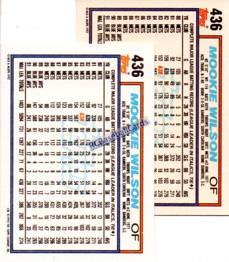 1992 mookie wilson 2 topps err variations 436 b11332 1