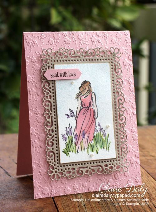 Stampin Up Beautiful Moments & Ornate Garden Suite. 2020 Annual Catalogue card by Claire Daly, Stampin' Up! Demonstrator, Melbourne Australia.Watercoloured.